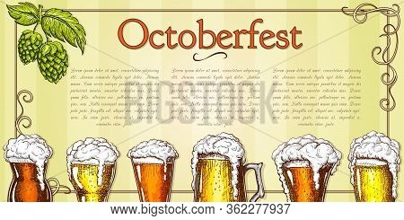 Beer Background Vector Vintage. Traditional Beer Festival Banner Template With Foamy Beer Glasses In