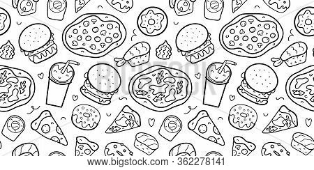 Fast Food Seamless Pattern, Doodle Linear Vector Texture For Delivery Restaurant, Various Sushi Roll