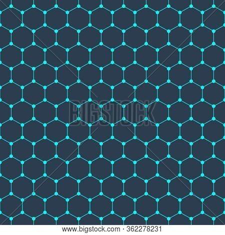 Hexagonal Molecular Connection Structure Seamless Pattern. Hexagon Network Texture. Medicine, Chemis