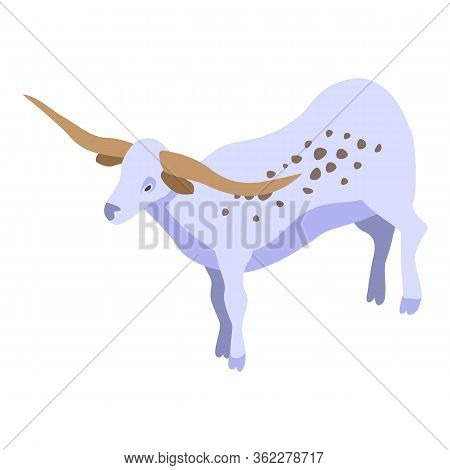 Long Horns Cow Icon. Isometric Of Long Horns Cow Vector Icon For Web Design Isolated On White Backgr