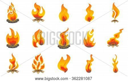 Fire Flames Collection, Flat Icons Set, Colorful Symbols Illustrations Pack Contains - Bonfire, Camp