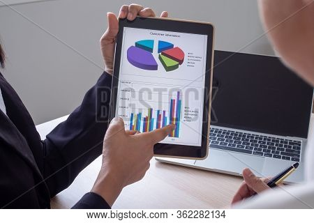Businessmen Are Talking About Charts Or Statistics Business Performance Presenting Company Annual Re