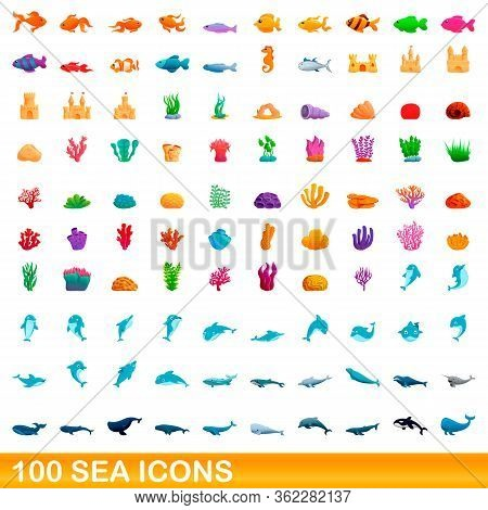 100 Sea Icons Set. Cartoon Illustration Of 100 Sea Icons Vector Set Isolated On White Background