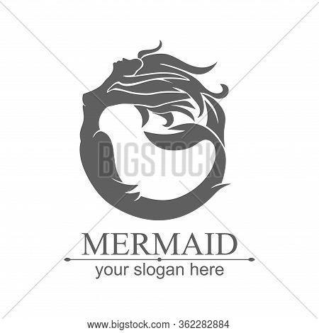 Mermaid Logo. Brand Template Vector Illustration. Siren And Marine Girl With A Tail. Logo For The Sa