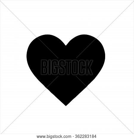 Heart Icon Black Isolated With White Background.heart Icon Flat. Heart Icon Design. Heart Icon Vecto