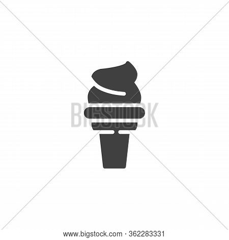 Sundae Ice Cream Vector Icon. Filled Flat Sign For Mobile Concept And Web Design. Ice Cream Cone Gly