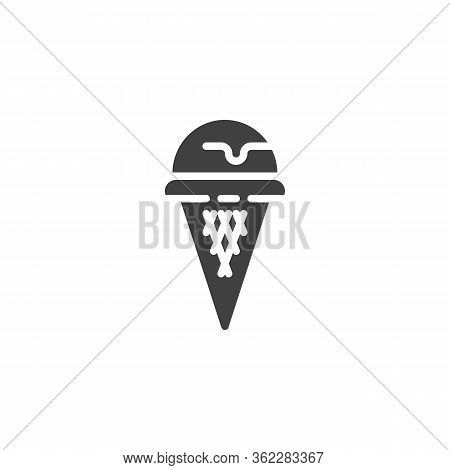 Sundae Ice Cream Vector Icon. Filled Flat Sign For Mobile Concept And Web Design. Waffle Ice Cream C
