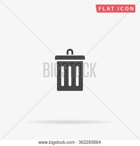 Trashcan Flat Vector Icon. Glyph Style Sign. Simple Hand Drawn Illustrations Symbol For Concept Info