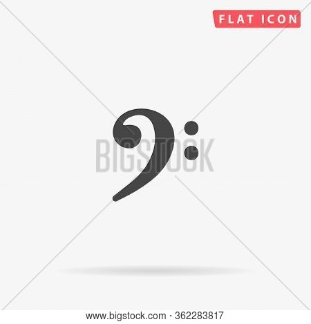 F Clef Flat Vector Icon. Glyph Style Sign. Simple Hand Drawn Illustrations Symbol For Concept Infogr