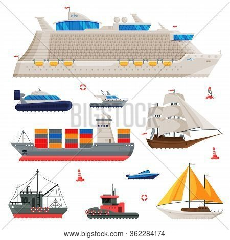 Water Transport Collection, Fishing Boat, Cruise Liner, Sailboat, Cargo Ship, Motorboat, Sea Or Ocea
