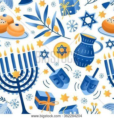 Cartoon Decorative Elements Of Jewish Holiday Hanukkah Seamless Pattern. Colorful Menorah Candles, D