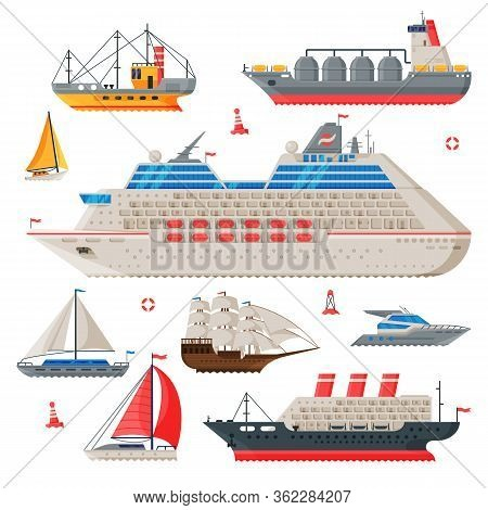 Water Transport Collection, Fishing Boat, Cruise Liner, Sailboat, Vintage Sailing Ship, Motorboat, S