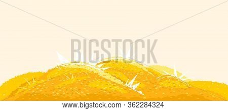 Heaps Of Gold Coins, Big Bright Treasure Of Gold Coins With Bright Lights Illustration Background, W