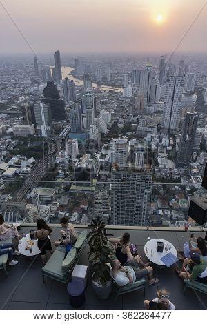 Bangkok, Thailand - February 29th, 2020: Tourists In The Restaurant On The Top Floor Of Mahanakhon B