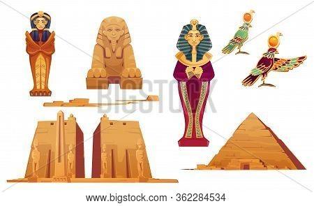 Egypt Landmarks And Deities Set. Ancient Egyptian Pyramid, Sphinx, Pharaoh Sarcophagus, World Famous