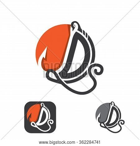 Abstract Letter D Icon Symbol With Fishing Hook Graphic. Flat Design Symbol Letter D. Vector Illustr