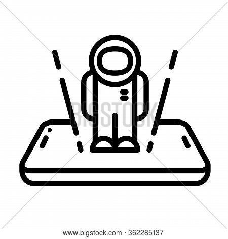 Ar Man Hologram Outline Vector Icon. Augmented Reality Smartphone Illustration. Vr And Augmented Rea