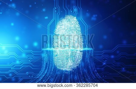 Fingerprint Scanning Identification System. Biometric Authorization And Business Security Concept, F