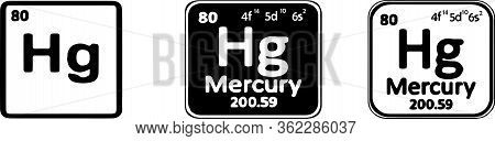 Periodic Table Element Mercury Icon Isolated On White Background