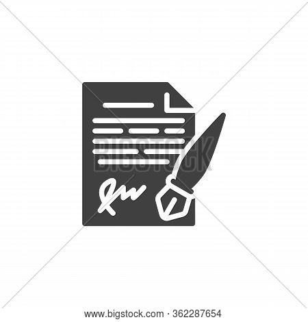 Legal Document Signature Pen Vector Icon. Filled Flat Sign For Mobile Concept And Web Design. Legal