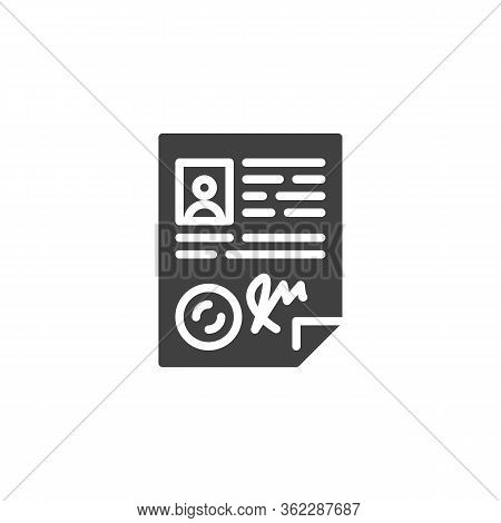 Licence Certificate Vector Icon. Personal Report Filled Flat Sign For Mobile Concept And Web Design.