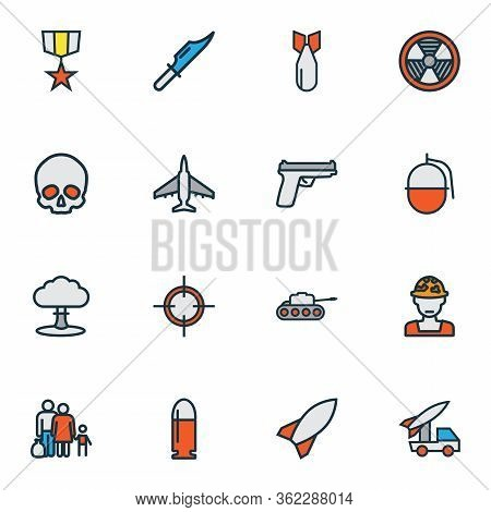 Battle Icons Colored Line Set With Skull, Bomb, Artillery And Other Explosive Elements. Isolated Vec