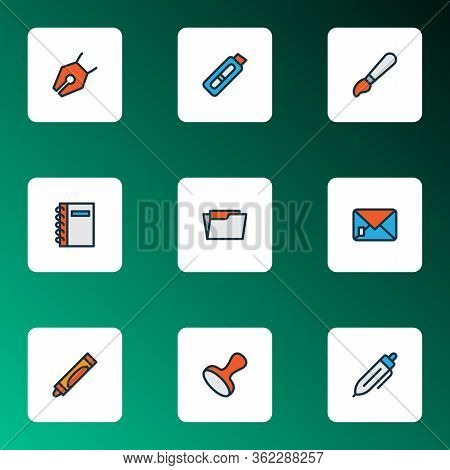 Stationery Icons Colored Line Set With Pencil, Spiral Notebook, Stamp And Other Nib Elements. Isolat