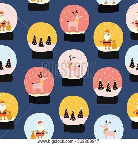 Snow Globes Seamless Holiday Vector Pattern. Hand Drawn Christmas Snowglobes Repeating Background. C