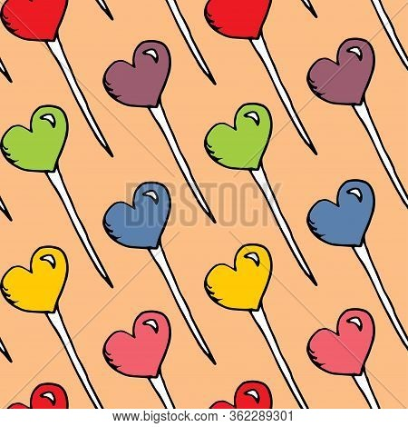Multicolored Candy Hearts Pattern Vector. Seamless Vector Pattern With Lollipops. Textile Wrapping F