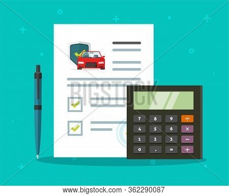 Car Auto Insurance Care Coverage Protection Contract Document Checklist Or Vehicle Safety Guarantee