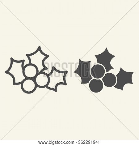 Mistletoe Line And Solid Icon. Winter Holiday Berry Decor Outline Style Pictogram On White Backgroun