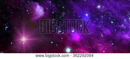 Space Background With Nebula And Shining Stars. Colorful Cosmos With Stardust And Milky Way. Magic C