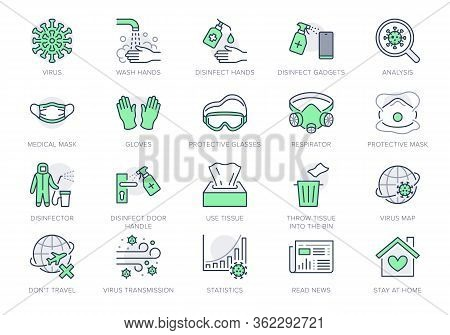 Coronavirus, Virus Prevention Line Icons. Vector Illustration Include Icon - Wash Hands Disinfection