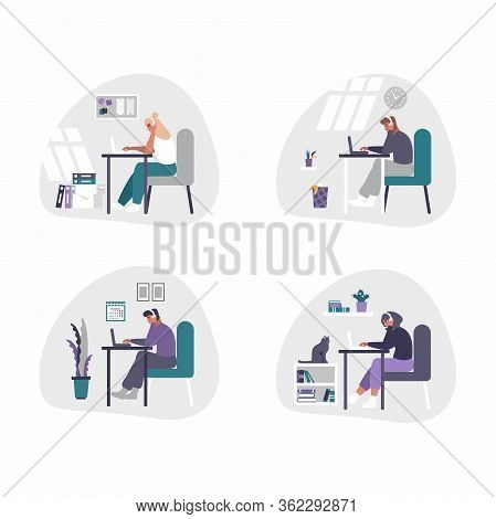 Freelance And Business Men And Women Working From Home - Home Office Concept Illustration. Men And W