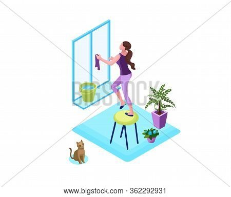 Woman Washing Window With A Duster, Clean Up House Concept, 3d Isometric Vector Illustration Of Indo