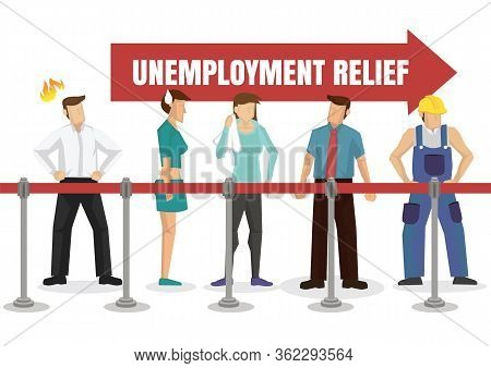 People Queuing Up For Unemployment Relief. Financial Welfare Assistance Concept. Vector Illustration