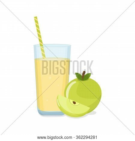 Tall Glass Of Apple Juice With Tube And Green Apple With A Slice. Natural Fresh Squeezed Juice. Heal