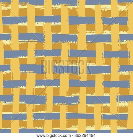 Vector Weave Wicker Style Seamless Pattern Background. Organic Painterly Brush Stroke Effect Backdro