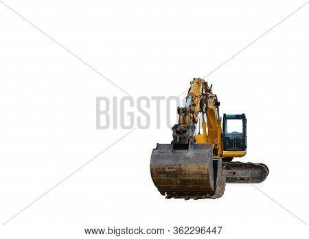 Yellow Tracked Excavator Isolated On White Background. Backhoe Loader Isolation. Rock Breaker Machin