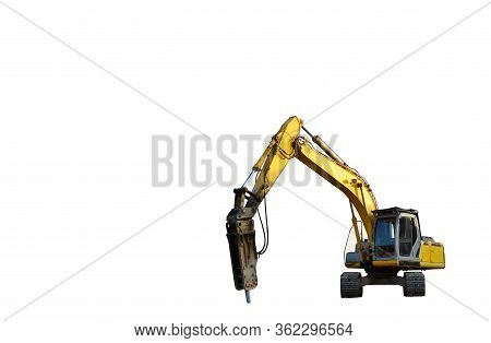 Excavator With Hydraulic Hammer Isolated On White Background. Isolation Of Backhoe For The Destructi