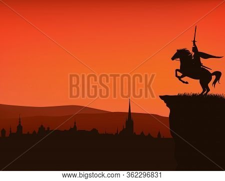 Fairy Tale King With Sword In Hand Riding Rearing Up Horse On A Cliff Above Medieval City - Vector S