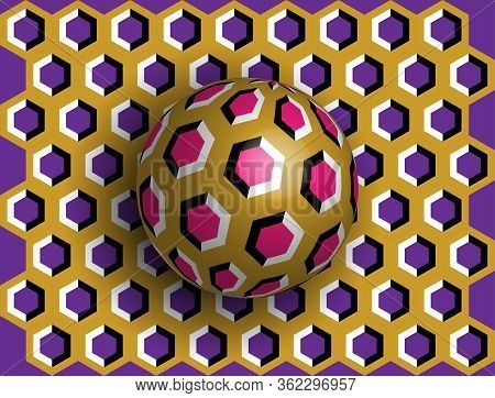 Ball Optical Illusion Clipart. Optical Illusion Of Movement. A Sphere Is Spinning Around A Moving Fl