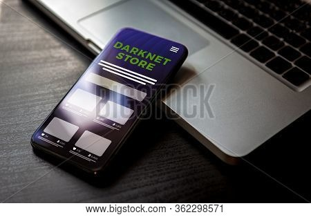 Darknet Store Market For Buying And Selling Illegal Goods Concept. Smartphone With Anonymous Black M