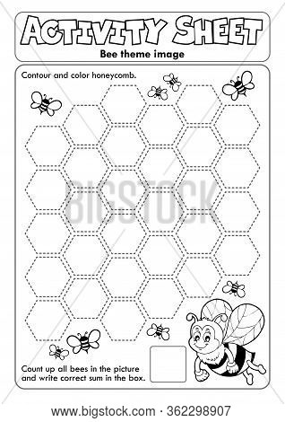 Activity Sheet Bee Theme 2 - Eps10 Vector Picture Illustration.