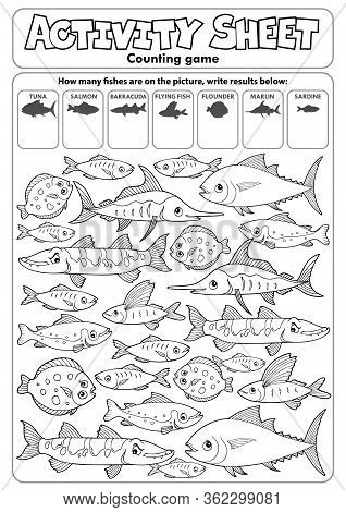 Activity Sheet Counting Game Topic 3 - Eps10 Vector Picture Illustration.