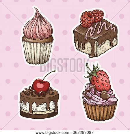 Hand Drawn Cakes, Vintage Colorful Food Sketches, Isolated On White Background. Vector Illustration.
