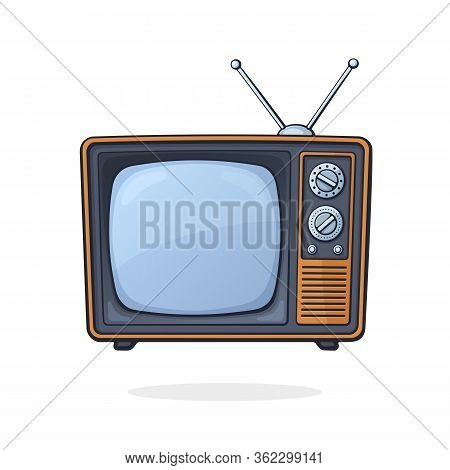 Vector Illustration. Analogue Retro Tv With Antenna, Channel And Signal Selector. Television Box For