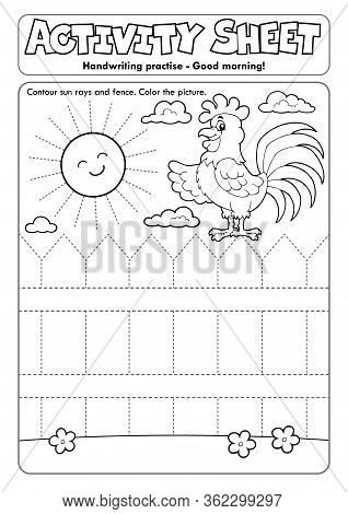 Activity Sheet Handwriting Practise Topic 2 - Eps10 Vector Picture Illustration.
