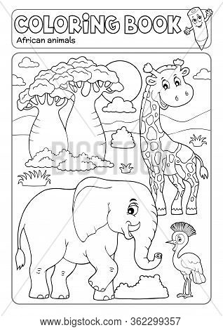 Coloring Book African Fauna 3 - Eps10 Vector Picture Illustration.