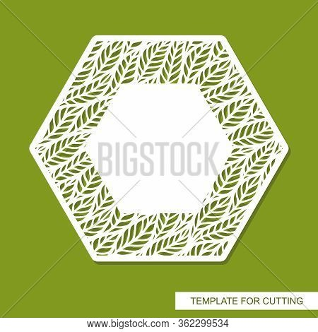 Vector Photo Frame Hexagon With Pattern Of Branches, Leaves And Copy Space In The Center. Design Ele